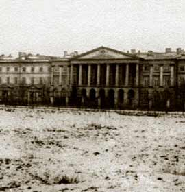 Smol´ny Institute, which during the summer and fall of 1917 was headquarters for the Soviets and in October became Bolshevik headquarters. Photograph, 1917