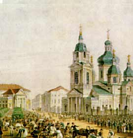 A view of Sennaya Square. A. Bryullov, 1822